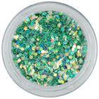 Tyrkysovo zelený šesťhran, 1mm - holografický
