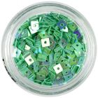 Tyrkysovo zelený štvorček - nail art ozdoba s dierkou