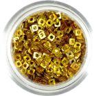 Holografický štvorček - zlatá ozdoba s dierkou