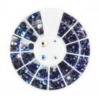Nail art ozdoby – kamienky guľaté – mix – modré s farebným odleskom