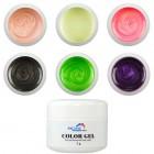 Sada UV farebných perleťových gélov - Pearl, 6ks