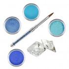 Sada Blue glitter- sada farebných akrylových práškov