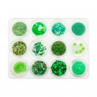 Ozdobná sada, 12 kusov – zelená