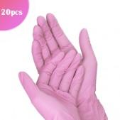 Ružové jednorazové rukavice L/20ks