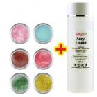 Sada Shimmer Color 6ks + Acryl Liquid 100ml ZADARMO