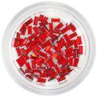 Ozdoby na nechty - červené kamienky, obdĺžniky