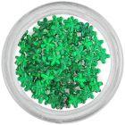 Smaragdovo zelené kamienky na nechty - kvietky