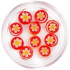 Ozdoby na nechty - červené kamienky s kvietkom, kruh