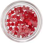 Malé kvietky na zdobenie nechtov - červené, perleť